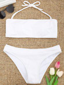 Conjunto De Bikini De Textura Acanalada Halter - Blanco S