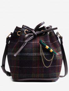 حقيبة كروسبودي من القماش مربع النقش مع حزام - أرجواني