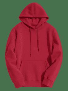 Rojo Bolsillo De Canguro De Capucha Forro Con 2xl Polar w1qPxpBf