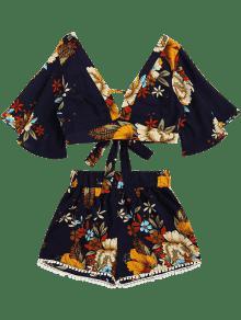 Alta Y Pantalones Floral Recortada Purp Cortos Con Azul Cintura Corte qvXtHS