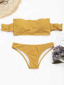 Off The Shoulder Ruffles Bikini Acanalado - Jengibre M