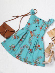 فستان مصغر بلا اكتاف طباعة الأزهار بنصف الزر - أزرق أخضر M