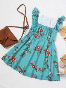 Verde Abotonado Medio Vestido Azul Hombro Mini L Floral Kxq6OZZpBw