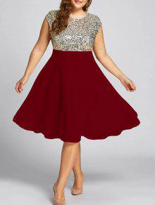 فستان السهرة الحجم الكبير  - نبيذ أحمر 5xl
