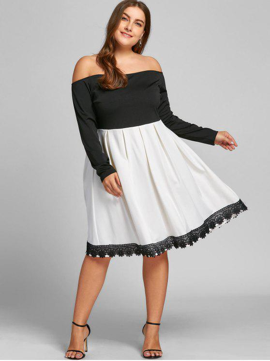 ladies Plus Size Off The Shoulder Swing Dress - WHITE AND BLACK XL