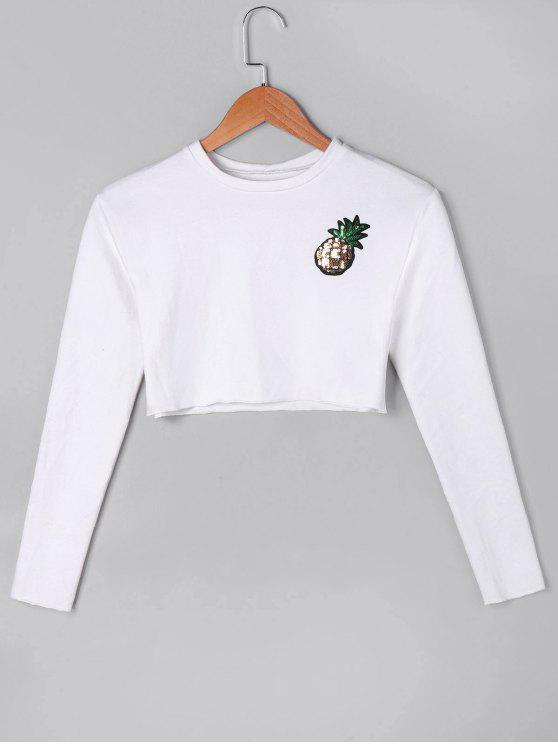 outfit Sequined Pineapple Crop Top - WHITE L
