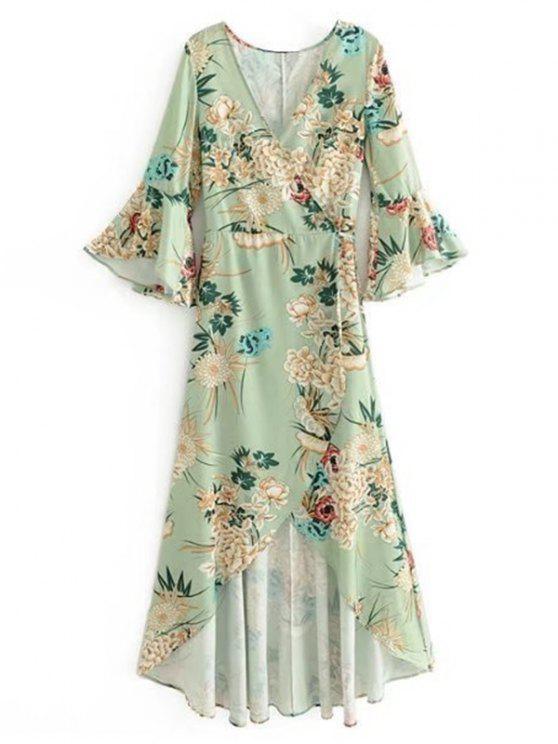 فستان ماكسي لف كشكش الأكمام طباعة الأزهار - اخضر فاتح S