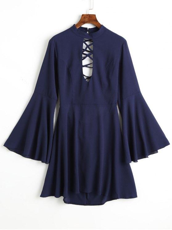 Vestito Allacciato Con Maniche Svasate E Retro In Rete - Blu L