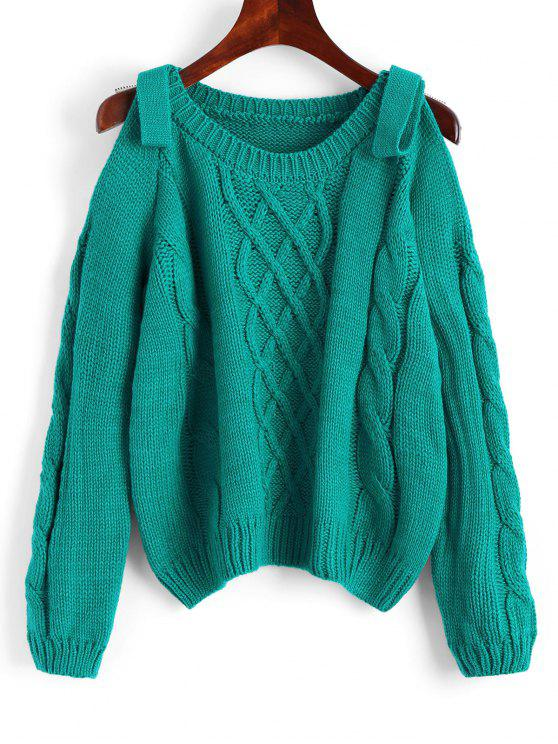 2018 Plain Cold Shoulder Cable Knit Sweater In Sea Green One Size