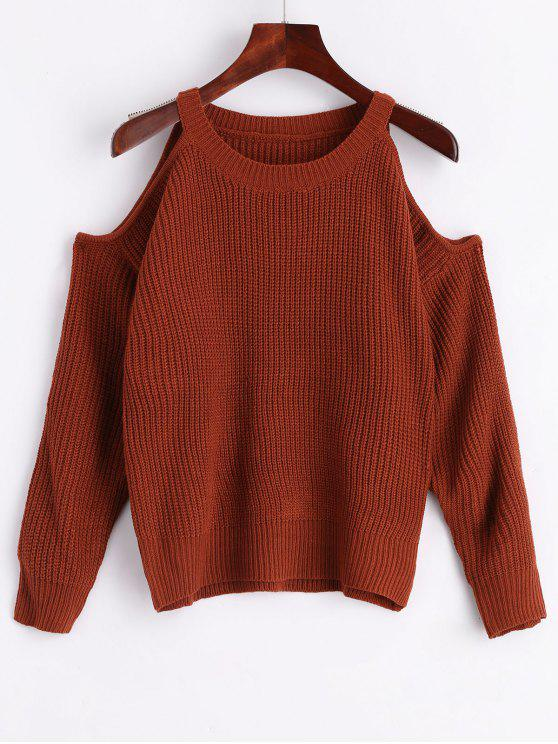 latest Crew Neck Cold Shoulder Pullover Sweater - COFFEE ONE SIZE