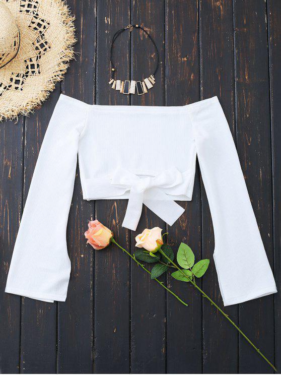 women's Off Shoulder Bowknot Hem Crop Blouse - WHITE S