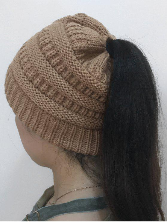 women's Mixcolor Open Top Knitted Hat - KHAKI