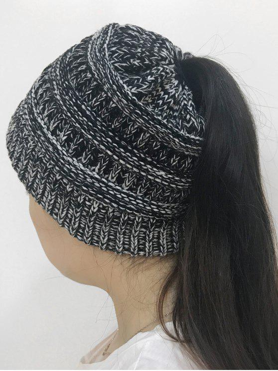 Sombrero hecho punto superior abierto de Mixcolor - Negro Blanco