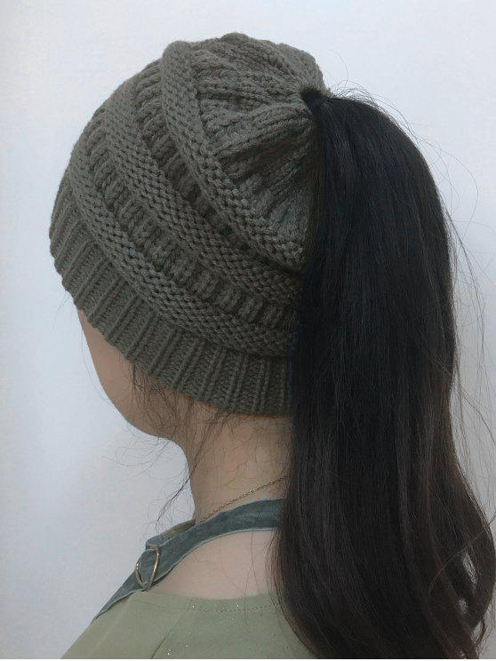 lady Mixcolor Open Top Knitted Hat - DEEP GRAY