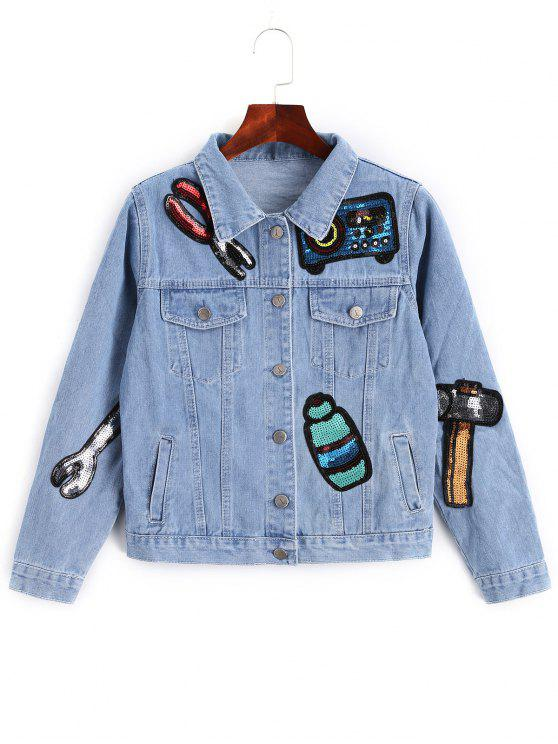 trendy Sequined Badge Patched Denim Jacket - DENIM BLUE L