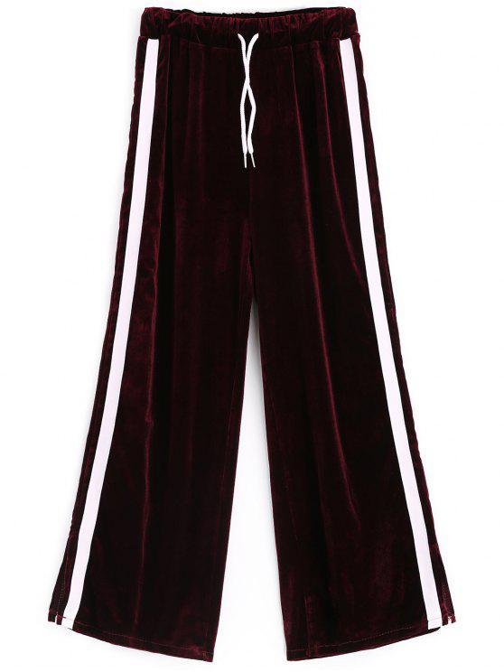 women Side Slit Striped Velvet Pants - PURPLISH RED ONE SIZE