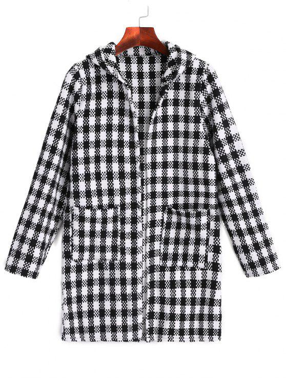 women's Checked Open Hooded Coat - CHECKED ONE SIZE