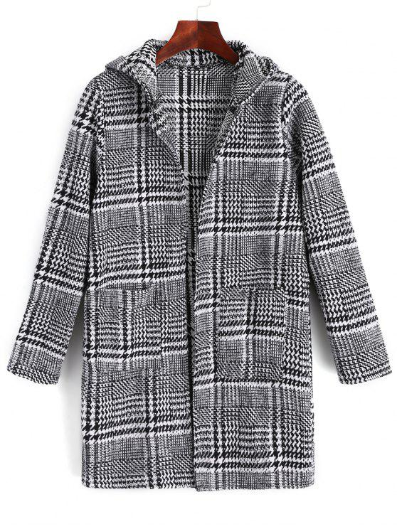 ladies Houndstooth Graphic Hooded Coat - HOUNDSTOOTH ONE SIZE