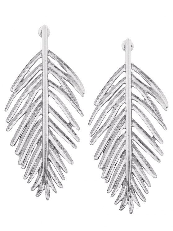women's Metal Vintage Leaf Earrings - SILVER