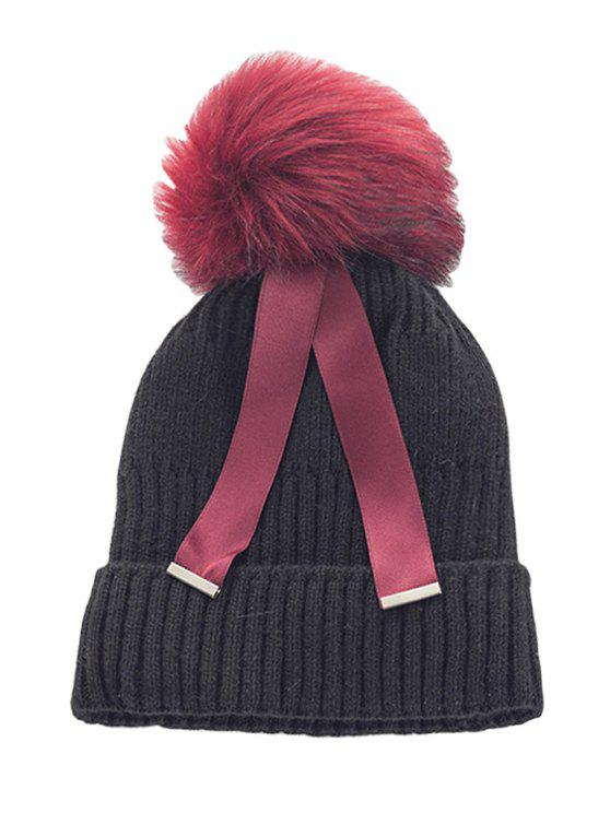 hot Outdoor Fuzzy Ball Embellished Knitted Ribbon Beanie - BLACK