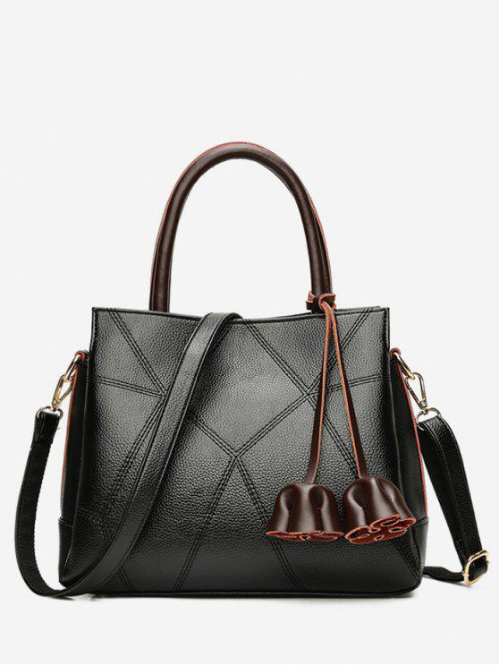unique Stitching Geometric PU Leather Handbag - BLACK