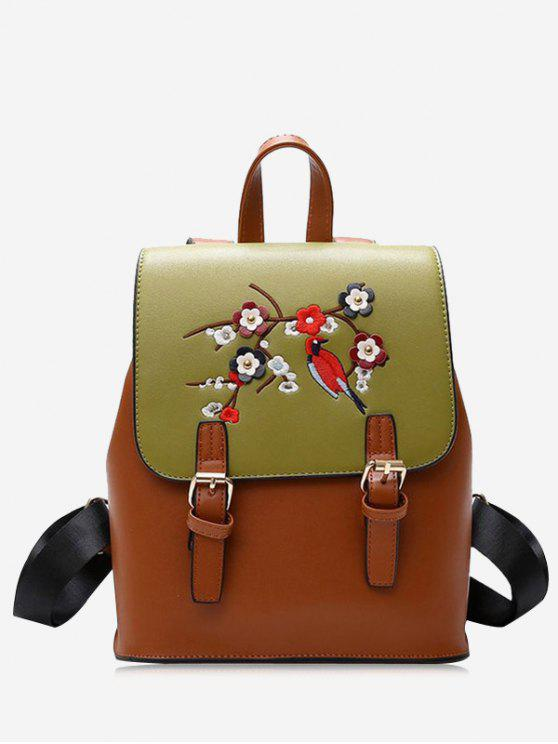 outfit PU Leather Flower Embroidery Backpack - BROWN
