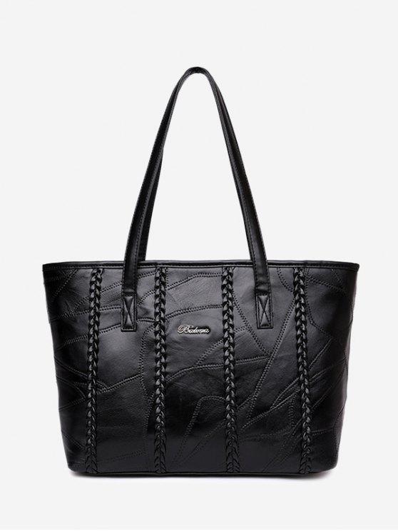 حقيبة كتف من الجلد المصنع - أسود