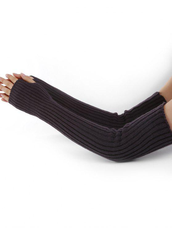 sale Vertical Striped Pattern Knitted Arm Warmers - ESPRESSO
