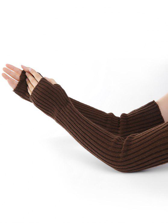 buy Vertical Striped Pattern Knitted Arm Warmers - COFFEE
