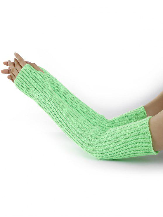 ladies Vertical Striped Pattern Knitted Arm Warmers - GREEN