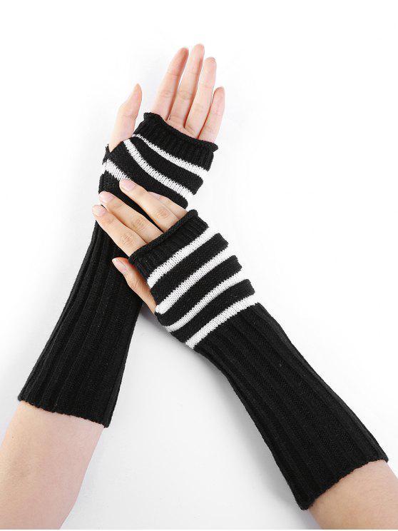 Mitaine Tricotée au Crochet Motif Rayures - Noir