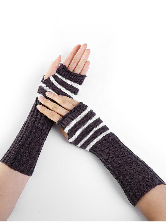 trendy Striped Pattern Decoration Crochet Knitted Fingerless Gloves - ESPRESSO
