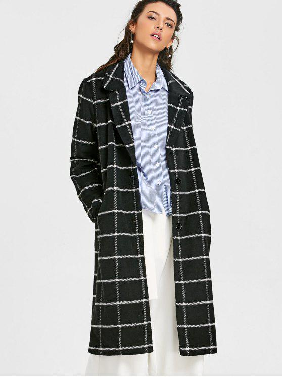 women's Two Buttoned Wool Blend Plaid Coat - CHECKED L