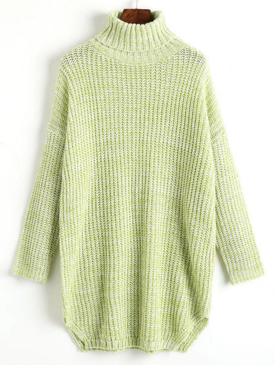 Heathered Side Slit Turtleneck Sweater LIGHT GREEN: Sweaters ONE ...