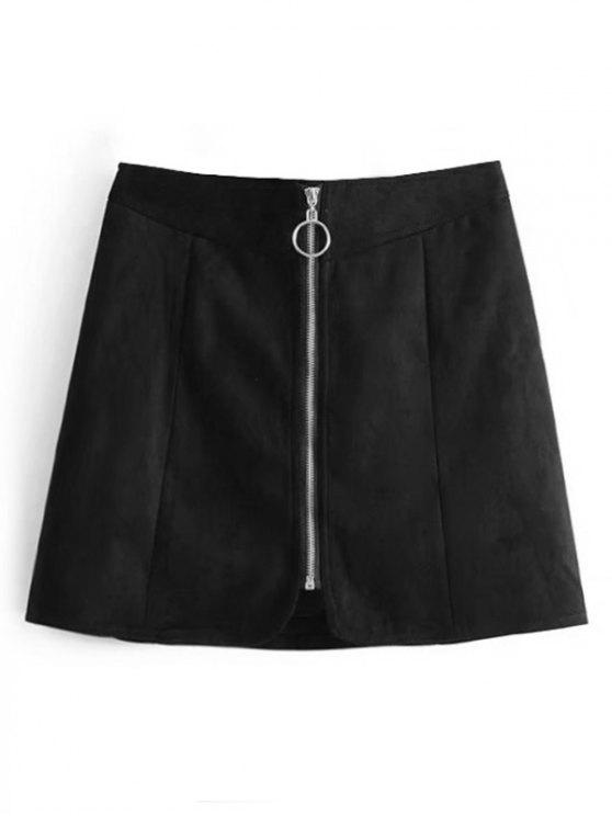 womens Zip Up Faux Suede A Line Skirt - BLACK S