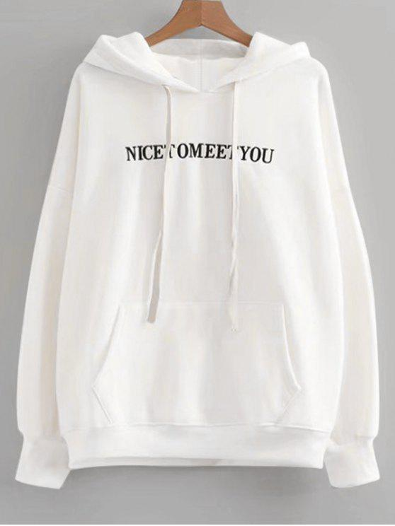 shop Oversized Drawstring Letter Embroidered Hoodie - WHITE ONE SIZE