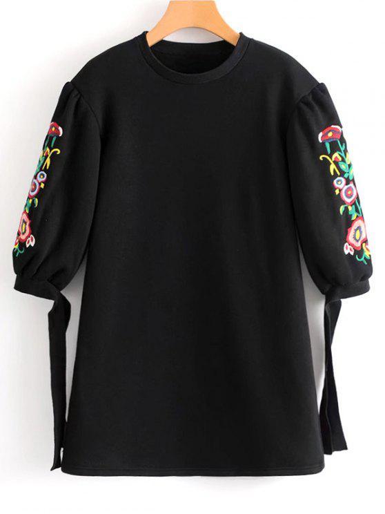 فستان مصغر مطرز بالأزهار ربطة فراشية الأكمام - أسود L