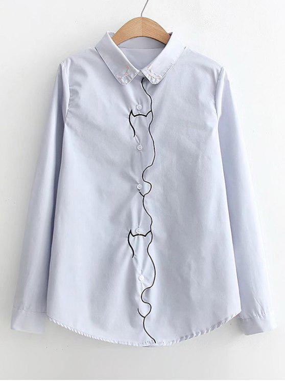 Piped button down embroidered shirt light blue blouses xl