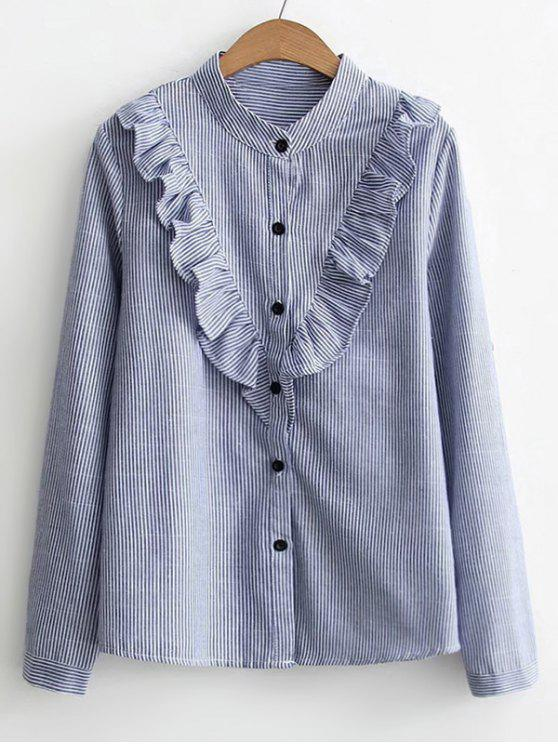 fancy Button Down Ruffles Stripes Shirt - BLUE S