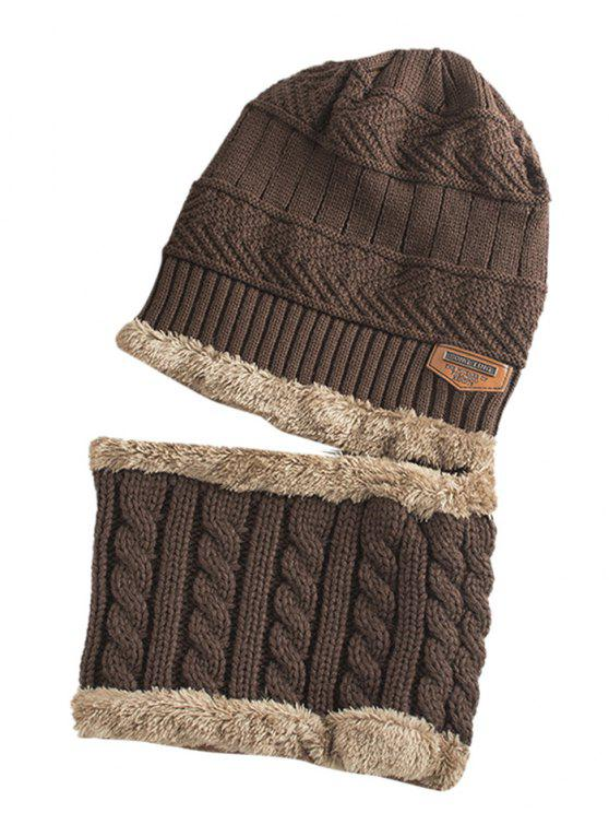 womens Label and Striped Pattern Decoration Knitted Beanie and Scarf - COFFEE
