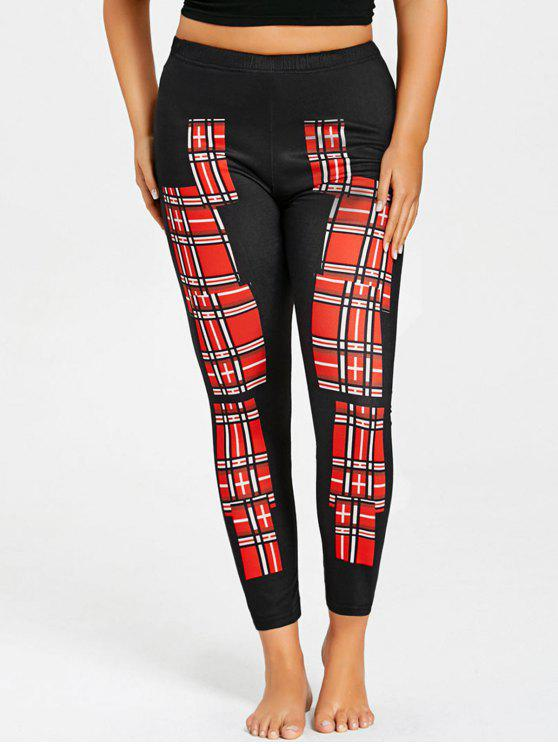 Leggings de bloque de color a cuadros de talla grande - Rojo 3XL
