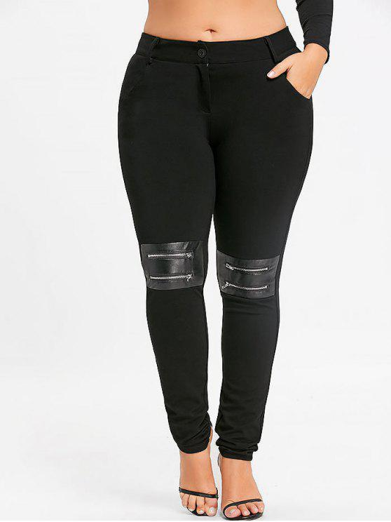 Pantalon Moulant à Zip Décoratif Grande Taille - Noir 4XL