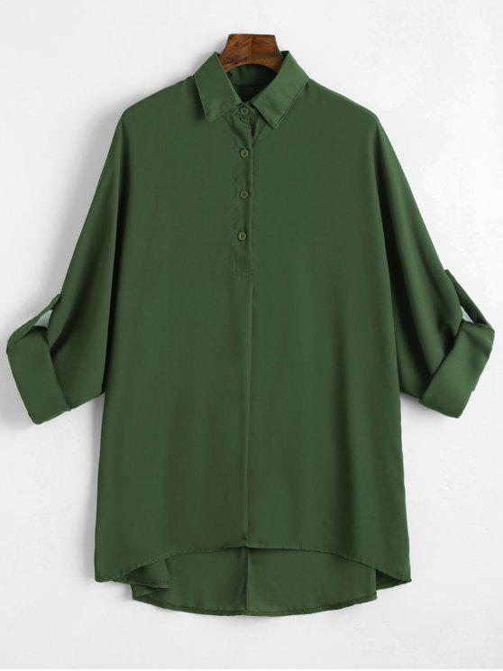 90ef7ac034d 38% OFF  2019 Plus Size Roll Up Sleeve Chiffon Blouse In ARMY GREEN ...