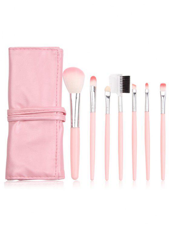 المحمولة 7 قطع أدوات التجميل ماكياج فرش مجموعة مع حقيبة - وردي فاتح