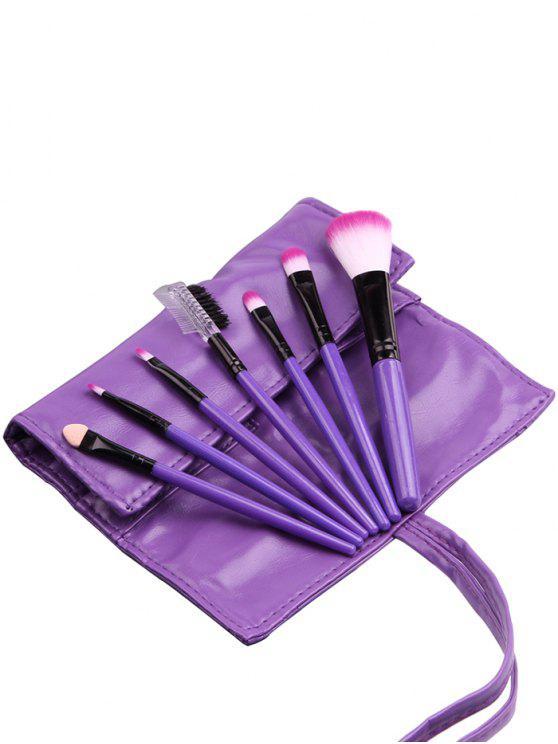 المحمولة 7 قطع أدوات التجميل ماكياج فرش مجموعة مع حقيبة - أرجواني