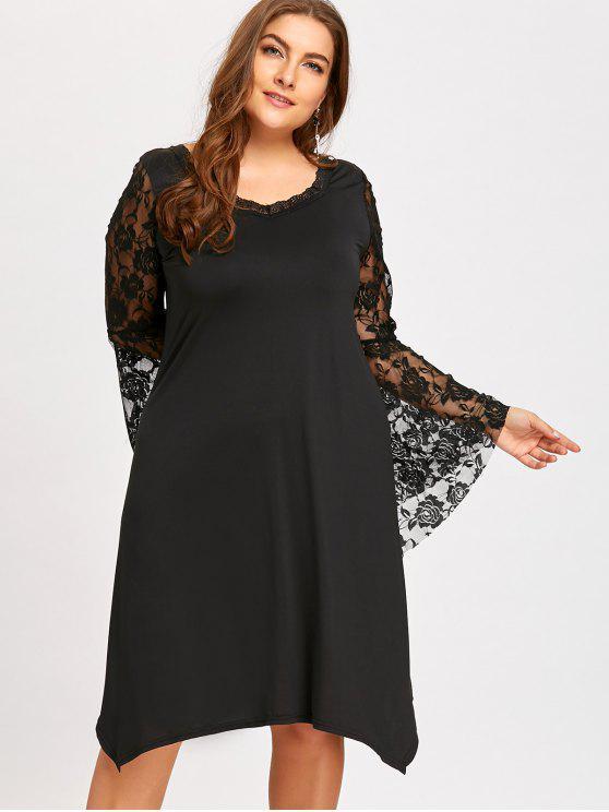فستان ذو مقاس كبير بأكمام واسعة من الدانتيل - أسود 3XL