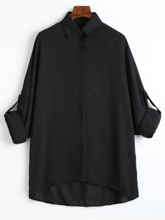 d5e4eaf779e 32% OFF  2019 Plus Size Roll Up Sleeve Chiffon Blouse In BLACK 3XL ...