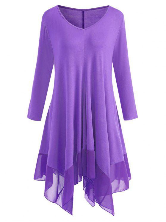 34% OFF] 2019 Plus Size Chiffon Panel Handkerchief Hem Tunic Dress ...