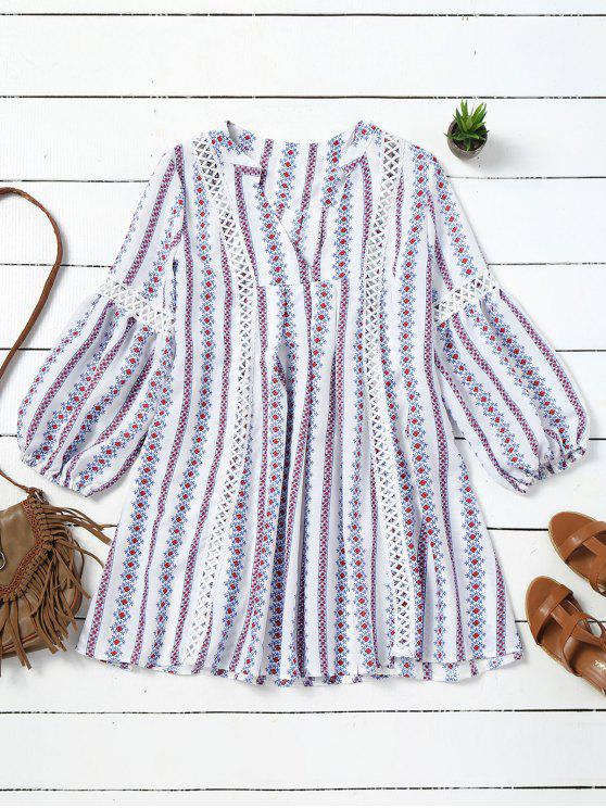 online Long Sleeve Hollow Out Tribal Tunic Dress - WHITE L