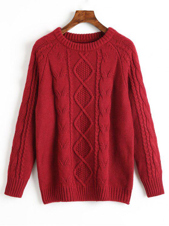 Crew Neck Plain Cable Knit Sweater DEEP RED: Sweaters ONE SIZE | ZAFUL